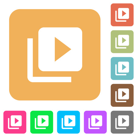 Video library flat icons on rounded square vivid color backgrounds. Illustration