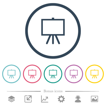 Easel with blank canvas flat color icons in round outlines. 6 bonus icons included.