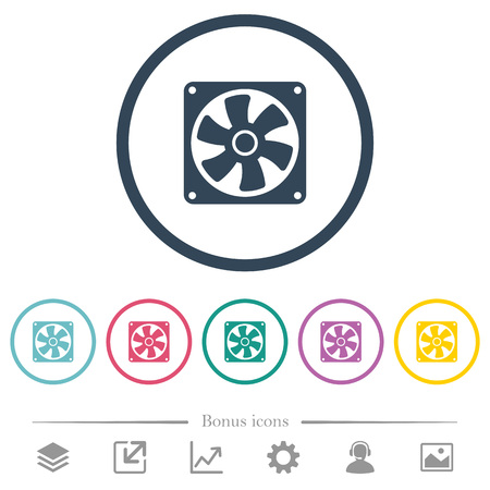 Computer fan flat color icons in round outlines. 6 bonus icons included. Ilustrace
