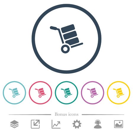 Hand truck with boxes flat color icons in round outlines. 6 bonus icons included.