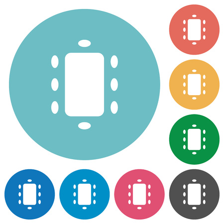 Meeting flat white icons on round color backgrounds
