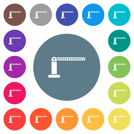 Closed barrier flat white icons on round color backgrounds. 17 background color variations are included.