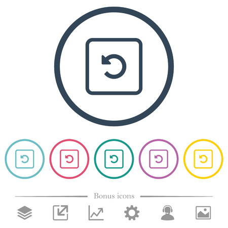Rotate object left flat color icons in round outlines. 6 bonus icons included.