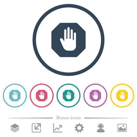 Achthoekige stopbord egale kleur pictogrammen in ronde contouren. 6 bonuspictogrammen inbegrepen.