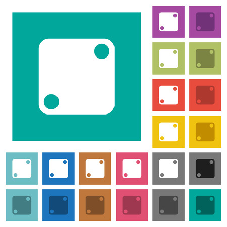Domino two multi colored flat icons on plain square backgrounds. Included white and darker icon variations for hover or active effects. Vectores