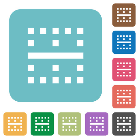 Horizontal border white flat icons on color rounded square backgrounds