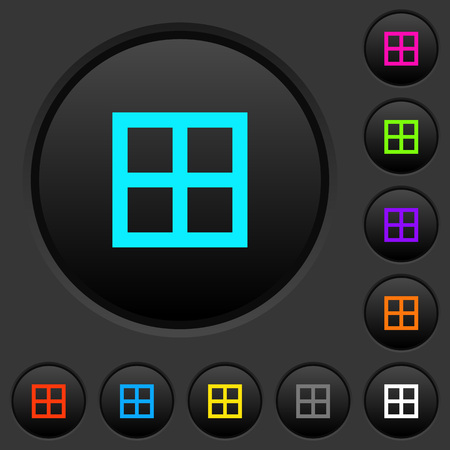All borders dark push buttons with vivid color icons on dark grey background