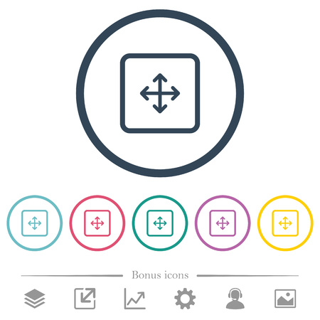 Drag object flat color icons in round outlines. 6 bonus icons included.
