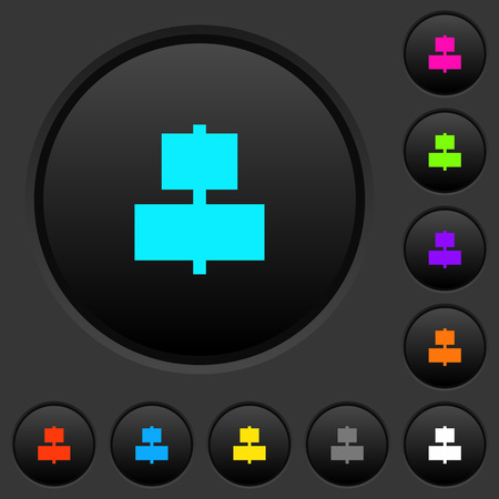 Align to center dark push buttons with vivid color icons on dark grey background