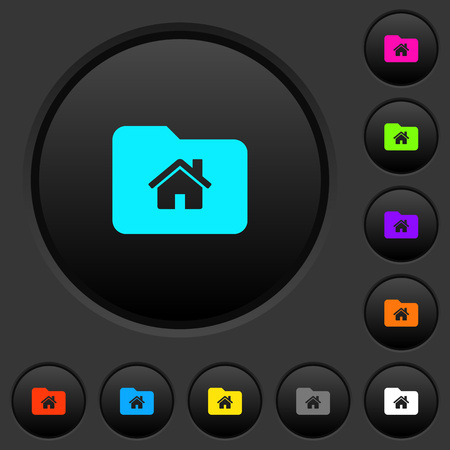 Home folder dark push buttons with vivid color icons on dark grey background
