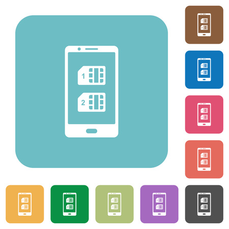 Dual SIM mobile white flat icons on color rounded square backgrounds