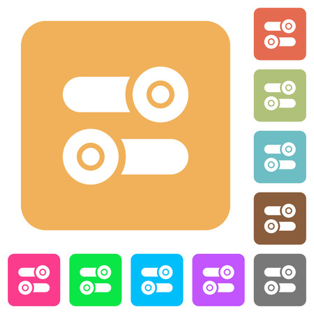 Toggle switches flat icons on rounded square vivid color backgrounds.