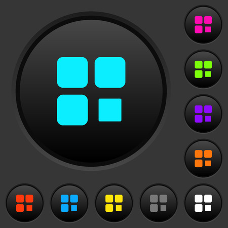 Component stop dark push buttons with vivid color icons on dark grey background