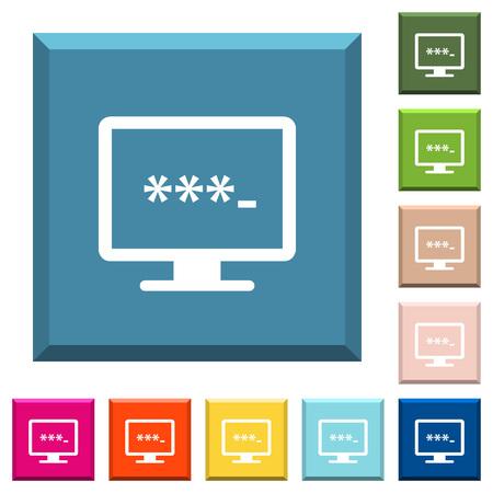 Saisie d'icônes blanches d'application sur des boutons carrés bordés de différentes couleurs à la mode Vecteurs
