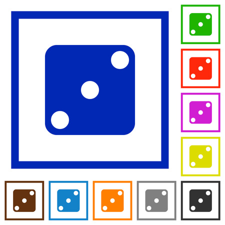 Domino three flat color icons in square frames on white background Vectores