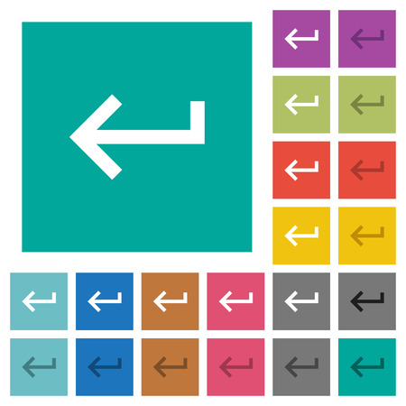 Keyboard return multi colored flat icons on plain square backgrounds. Included white and darker icon variations for hover or active effects.