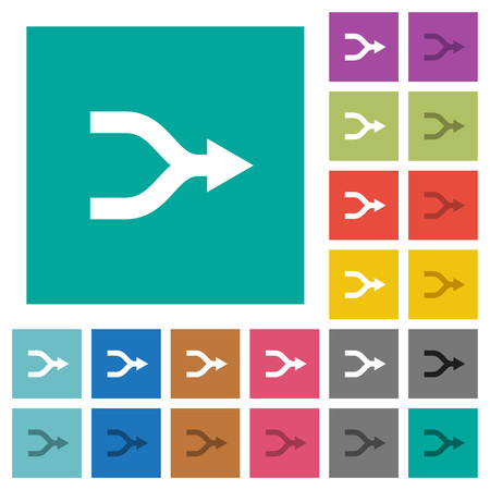 Merge arrows multi colored flat icons on plain square backgrounds. Included white and darker icon variations for hover or active effects.