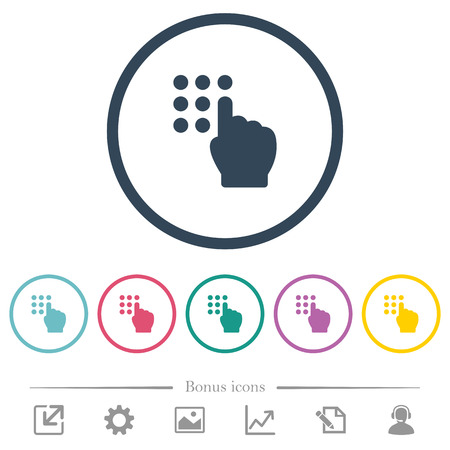 Typing security code flat color icons in round outlines. 6 bonus icons included.