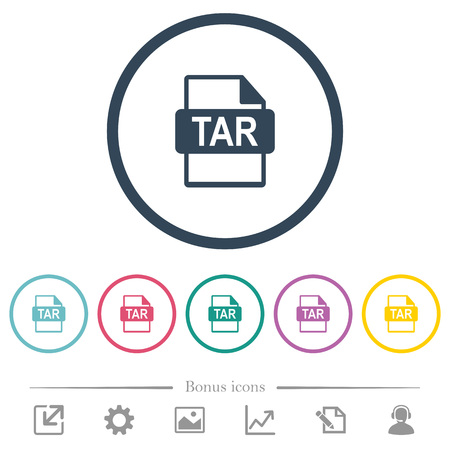 TAR file format flat color icons in round outlines. 6 bonus icons included.