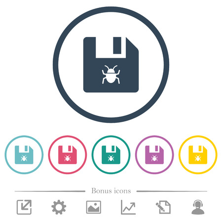 Infected file flat color icons in round outlines. 6 bonus icons included.