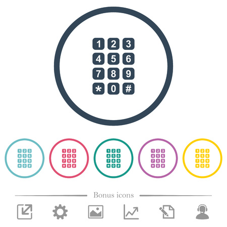 Numeric keypad flat color icons in round outlines. 6 bonus icons included.