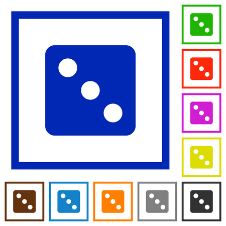 Dice three flat color icons in square frames on white background Illustration