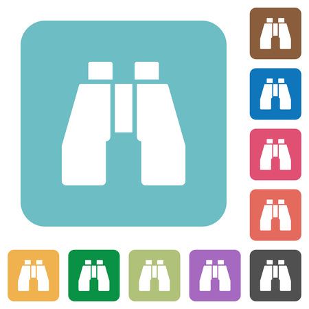 Binoculars white flat icons on color rounded square backgrounds