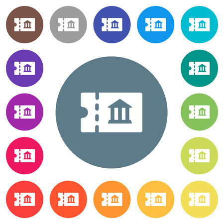 Museum discount coupon flat white icons on round color backgrounds. 17 background color variations are included.