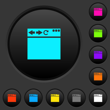 Empty browser window dark push buttons with vivid color icons on dark grey background