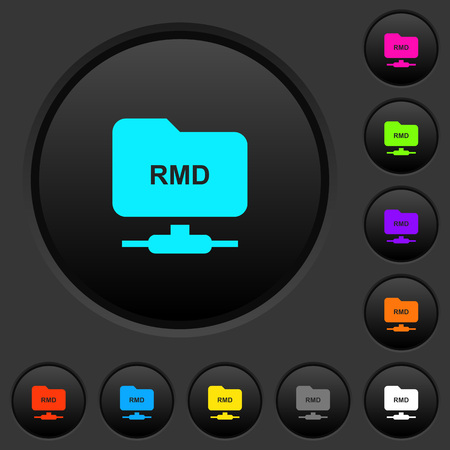 FTP remove directory dark push buttons with vivid color icons on dark grey background Vettoriali