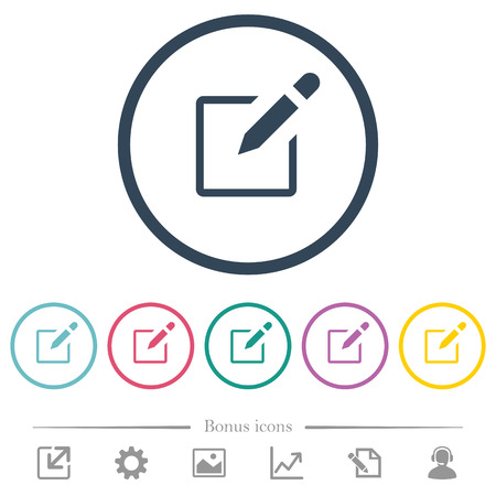 Editbox with pencil flat color icons in round outlines. 6 bonus icons included. Ilustrace