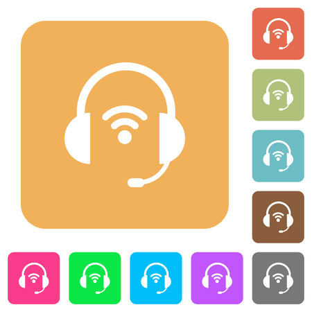 Wireless headset flat icons on rounded square vivid color backgrounds.