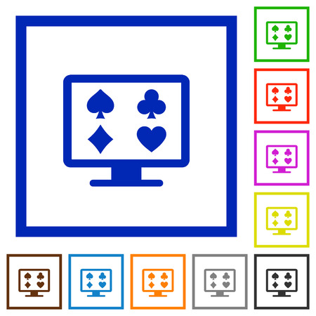 Online gambling flat color icons in square frames on white background Vectores