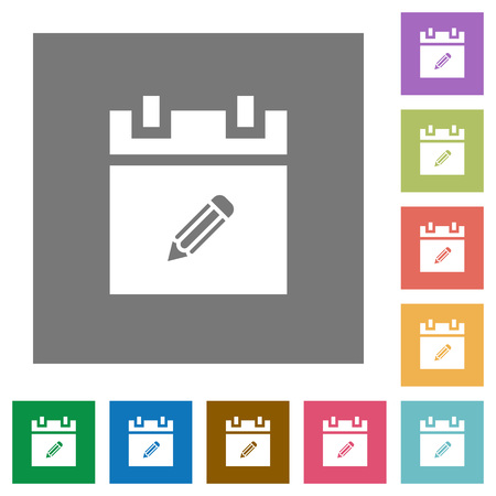 Edit schedule item flat icons on simple color square backgrounds