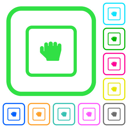 Grab object vivid colored flat icons in curved borders on white background