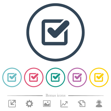 Checkbox flat color icons in round outlines. 6 bonus icons included.