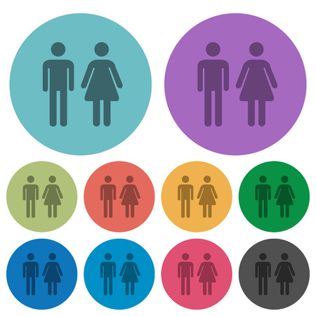 Male and female sign darker flat icons on color round background
