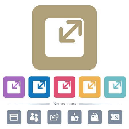 Resize window white flat icons on color rounded square backgrounds. 6 bonus icons included