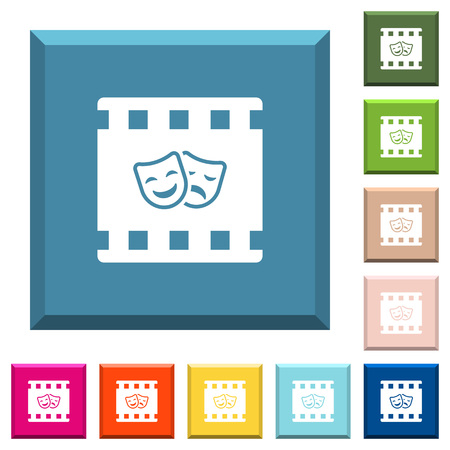 Theatrical movie white icons on edged square buttons in various trendy colors Illustration