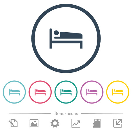 Sleeping man flat color icons in round outlines. 6 bonus icons included.