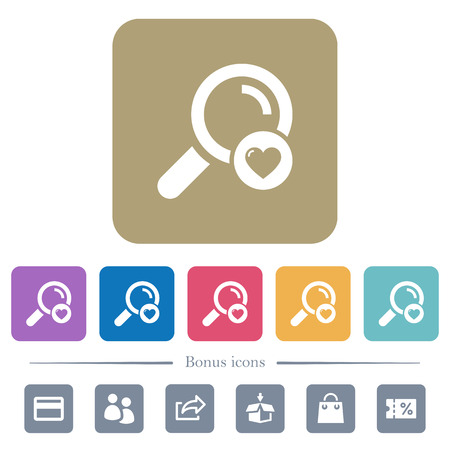 Favorite search white flat icons on color rounded square backgrounds. 6 bonus icons included Illustration