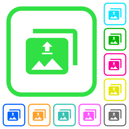 Upload multiple images vivid colored flat icons in curved borders on white background