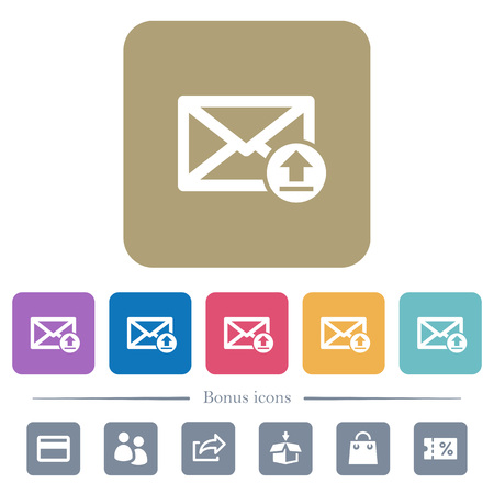 Sending email white flat icons on color rounded square backgrounds. 6 bonus icons included Illustration