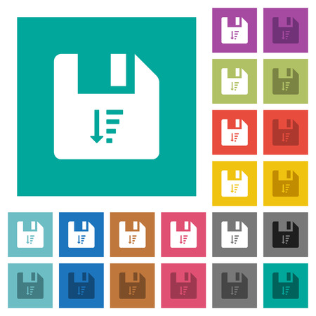Descending file sort multi colored flat icons on plain square backgrounds. Included white and darker icon variations for hover or active effects.