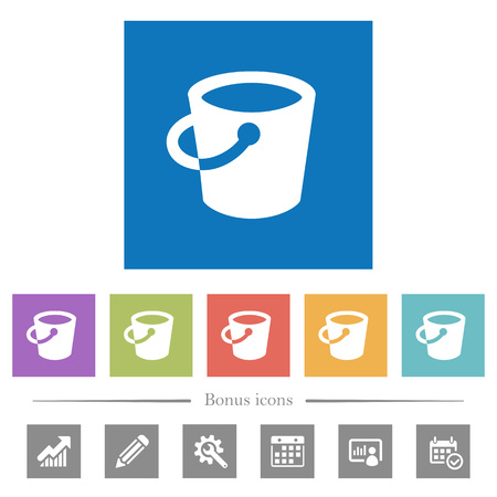 Bucket flat white icons in square backgrounds. 6 bonus icons included.