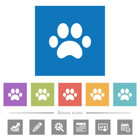 Paw prints flat white icons in square backgrounds. 6 bonus icons included. Illustration