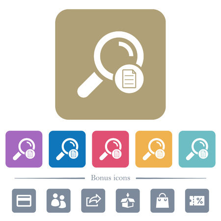 Search details white flat icons on color rounded square backgrounds. 6 bonus icons included