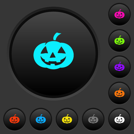 Halloween pumpkin dark push buttons with vivid color icons on dark grey background