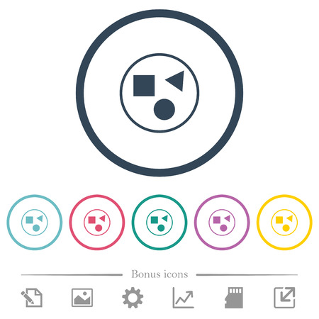 Grouping elements flat color icons in round outlines. 6 bonus icons included. Ilustrace
