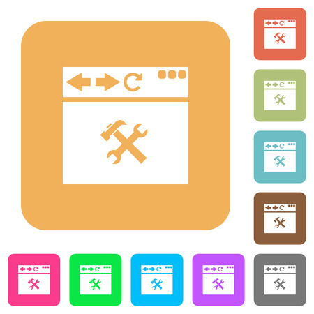 Browser tools flat icons on rounded square vivid color backgrounds.